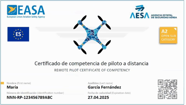 Certificado de competencia de piloto a distancia Sub A2