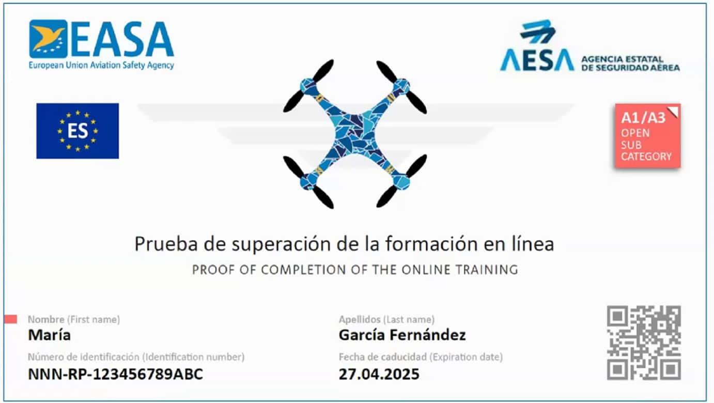 Certificado de competencia de piloto a distancia Sub A1 y A3