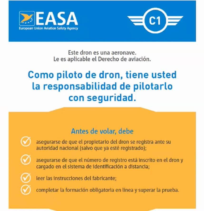 Instrucciones del fabricante en los drones