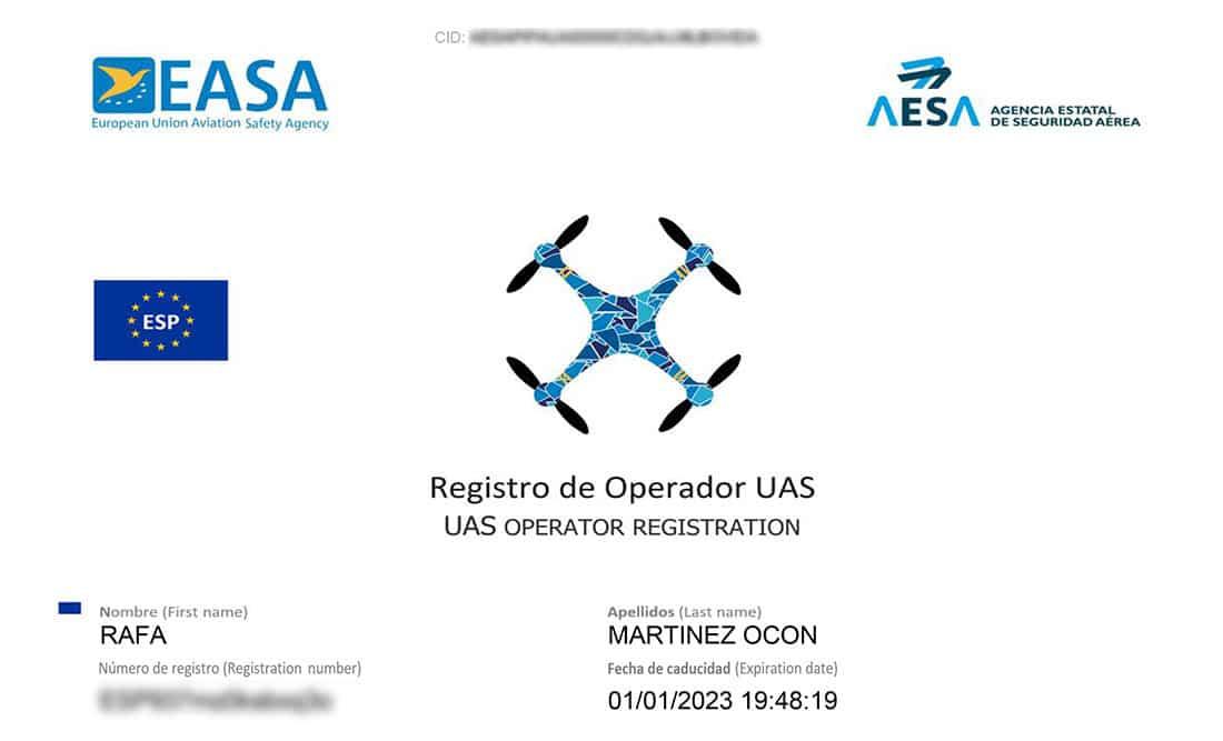 Ejemplo de Certificado Piloto Operador de Drones