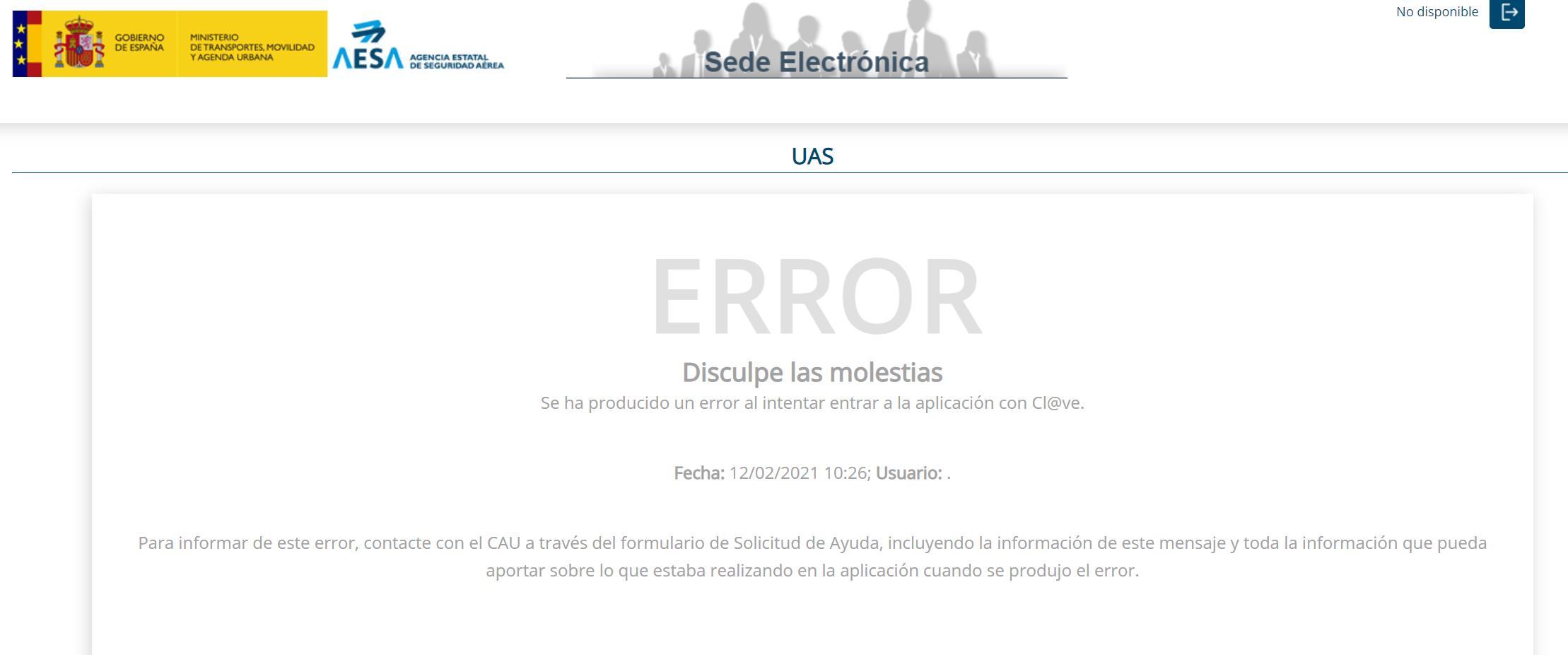 Errores en el registro de Operador de Drones